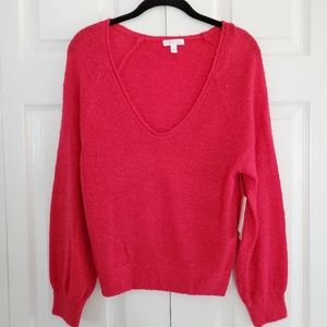 NEW Abound Watermelon Pink Plunging V-neck Sweater